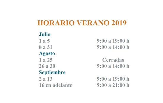 Horario de verano 2019 de las Bibliotecas UCA