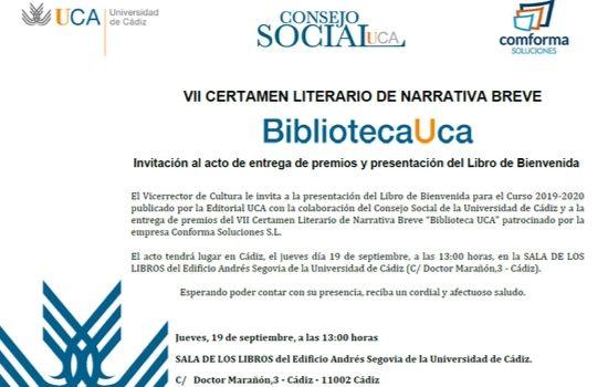 VII Certamen Literario de Narrativa Breve y presentación del Libro de Bienvenida 19 septiembre