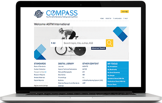 IMG Acceso a ASTM Compass: normas de American Society for Testing and Materials, libros y revistas